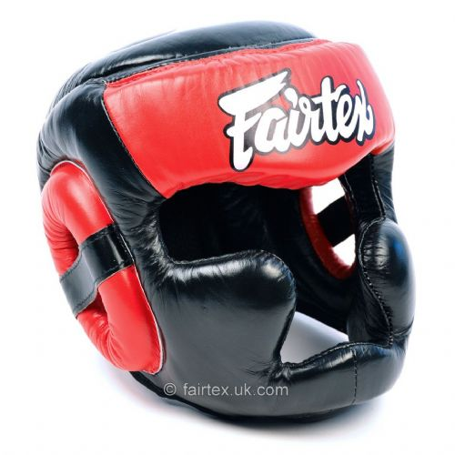 Fairtex Full Coverage Head Guard Black/Red